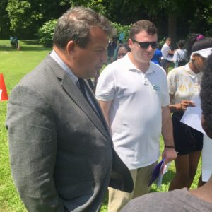 Thomas Mac Barreca, Cornell Blumenthal intern at WCA in 2019 stands with George Latimer at Invest Fest 2019 in Hartsdale, NY